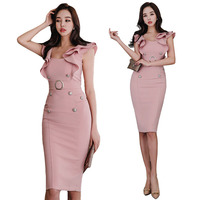 Summer Women Bodycon Party Bandage Dress Celebrity Party Dress Sexy Green Pink Blue Ruffles Butterfly Sleeve Club Dress Vestidos