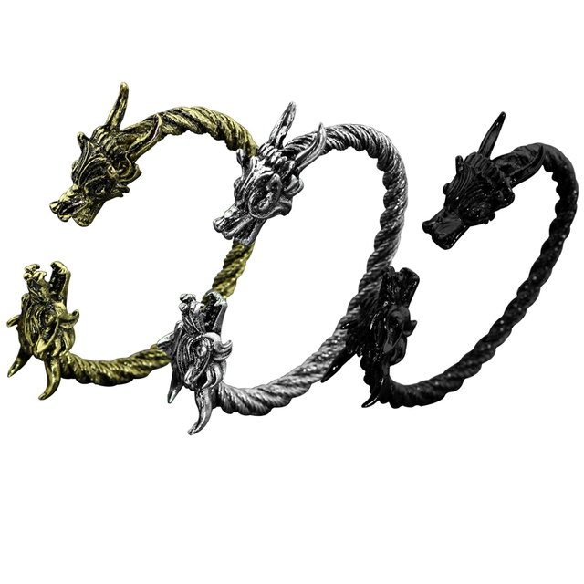 3 Color Viking Bracelet Dragon Bracelets For Men With Twisted Cable Bangle Mens Accessories Opening