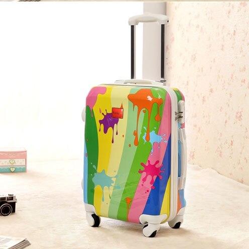 "20 ""дюймовый Мода ABS прокатки spinner колеса тележки чемодан багажа путешественника casepull rod ствол прокатки счетчик колеса каракули"