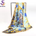 Animal Plant Silk Square Scarves 2016 New Accessories Lemon yellow Ladies Scarves Printed 90*90cm Silk Tippet Shawl Hand-rolled