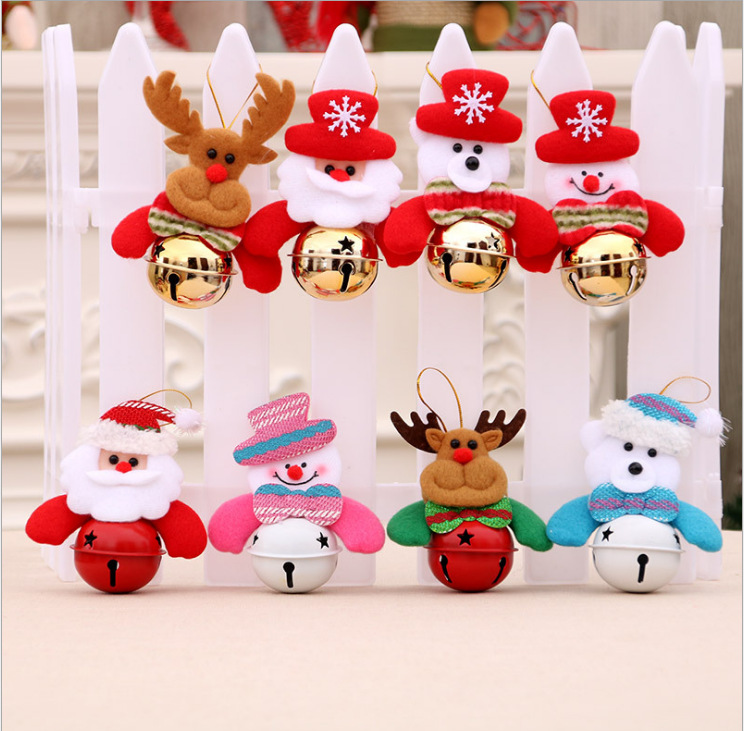 Christmas Decorations Bell Cute Snowman Bear Elk Santa Claus Head Bells Christmas Tree Pendant Drop Ornament for Xmas Home Party(China)