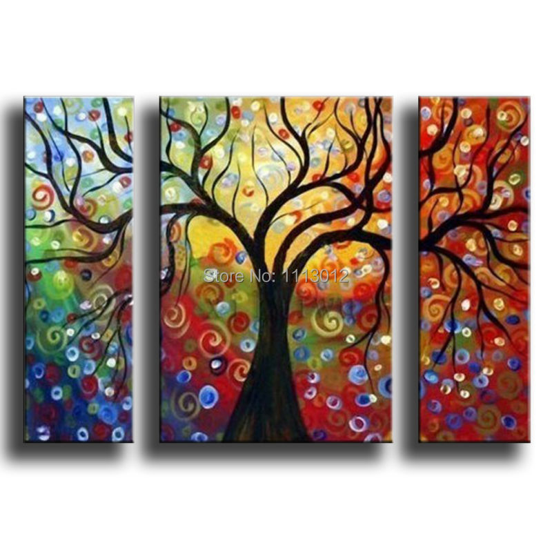 100 Hand Painted 3 Pcs Set Abstract Tree Of Life Oil Painting On