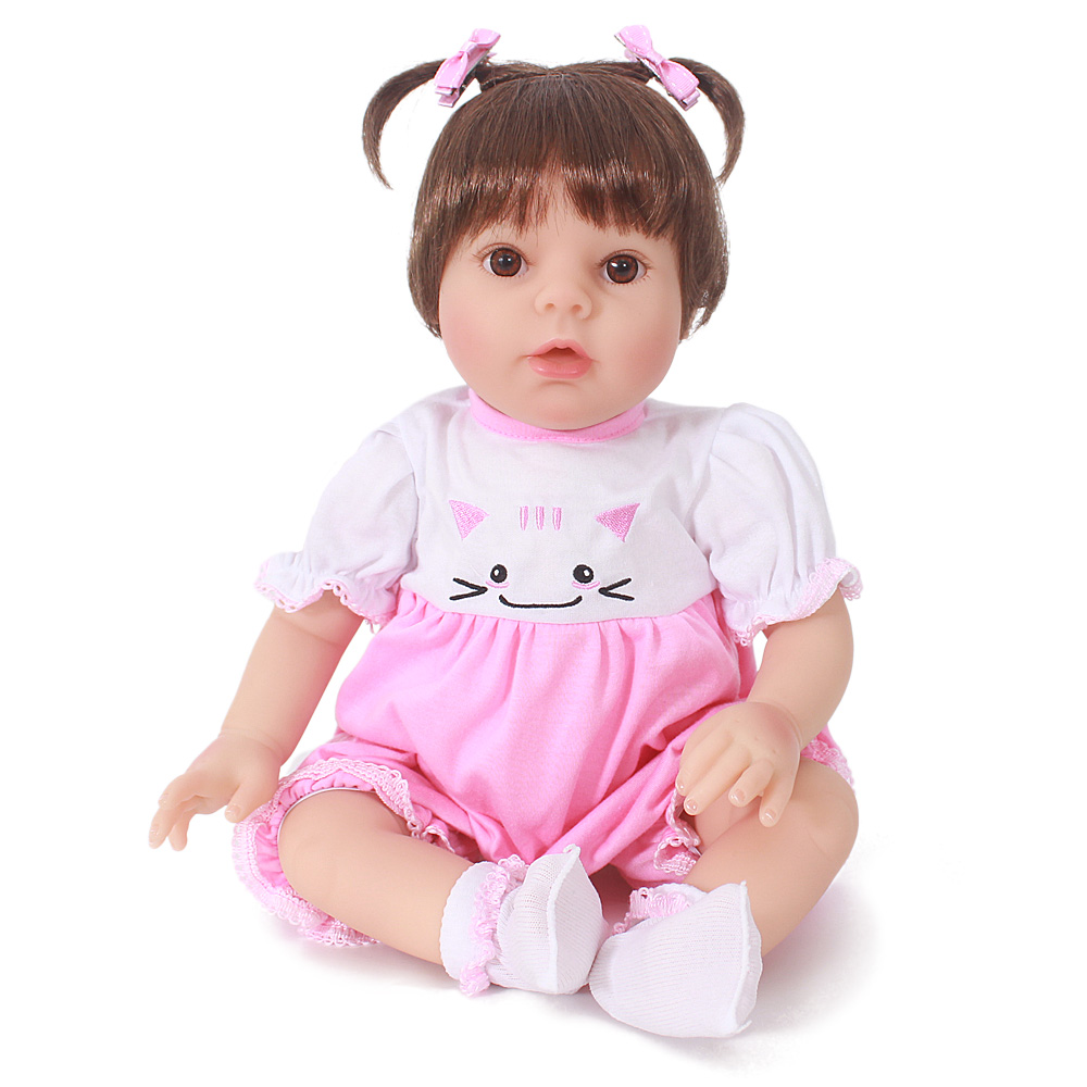 Silicone Reborn Dolls Toys For Children 50cm Cute Pink Clothes Soft Cloth Body Baby Alive Newborn Reborn Princess For Sale Gift