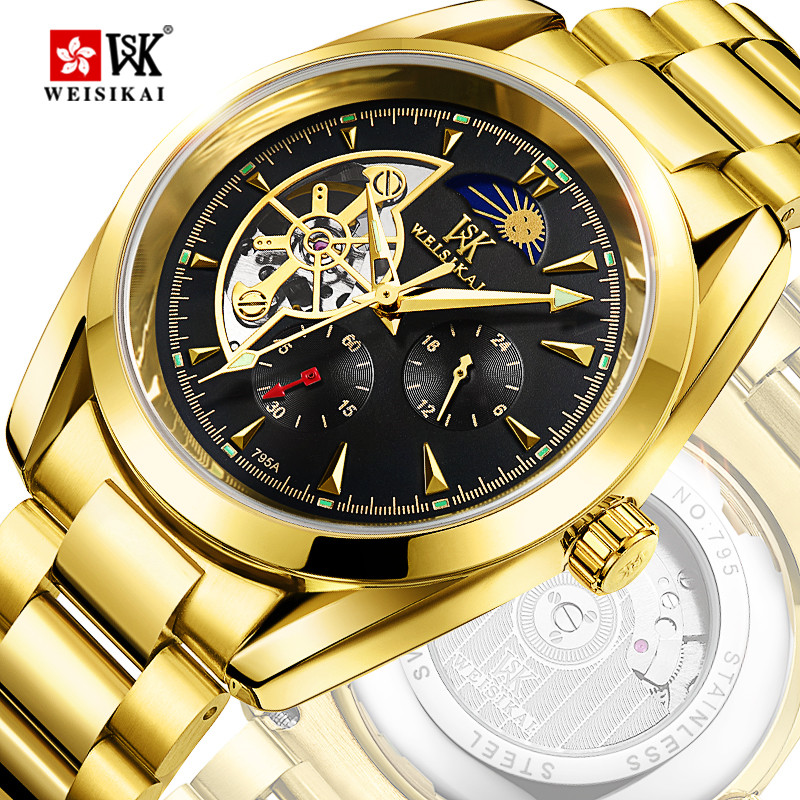 WEISIKAI Gold Tourbillon Automatic Watch Men Moon Phase Mens Mechanical Watches Waterproof Wristwatch Male Clock montre homme стоимость