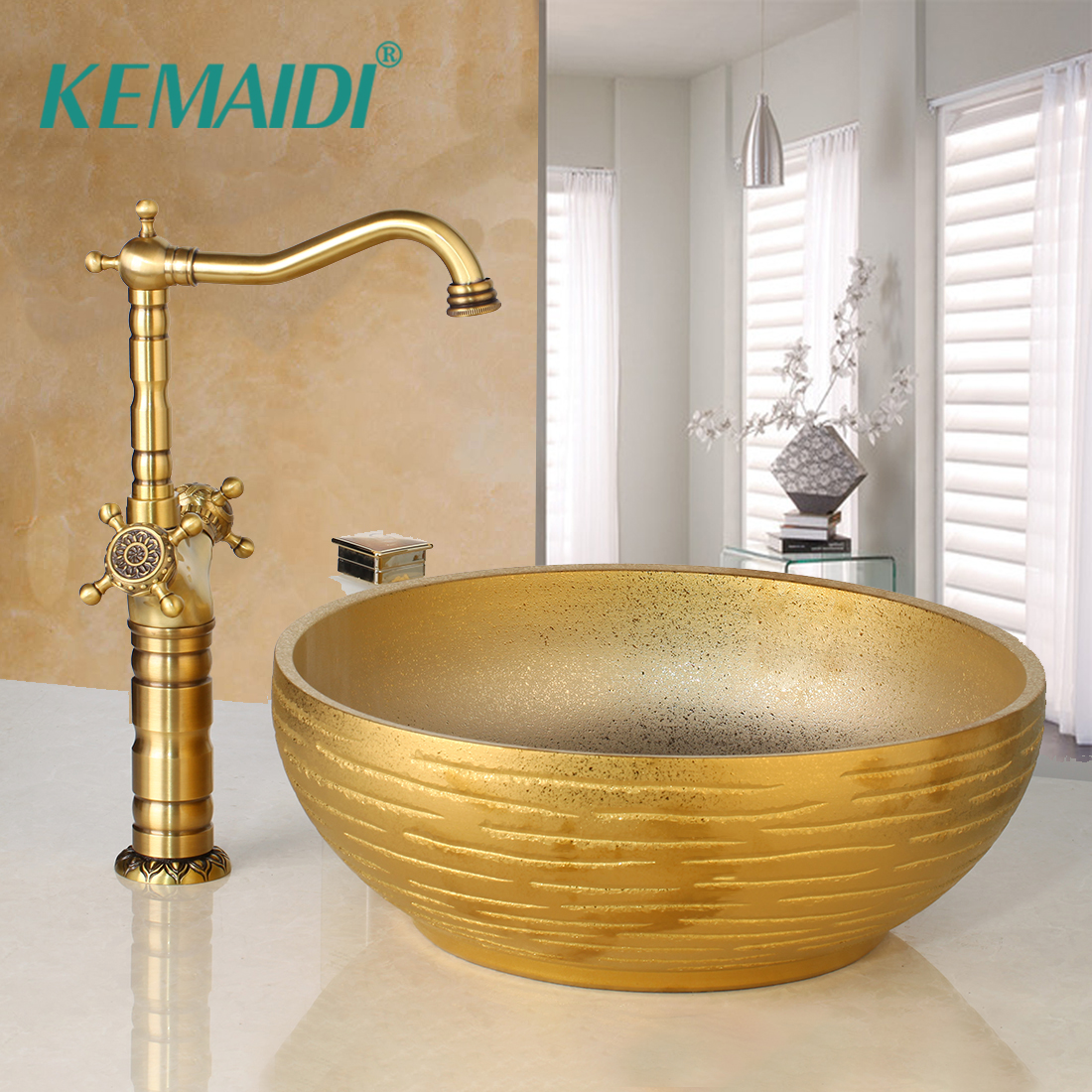 KEMAIDI Bathroom Ceramic Basin Faucets Sets Hand Painted Basin Antique Brass Tap Bathroom Sink
