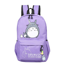 Anime Studio Ghibli Style Canvas Backpack with Totoro Pattern