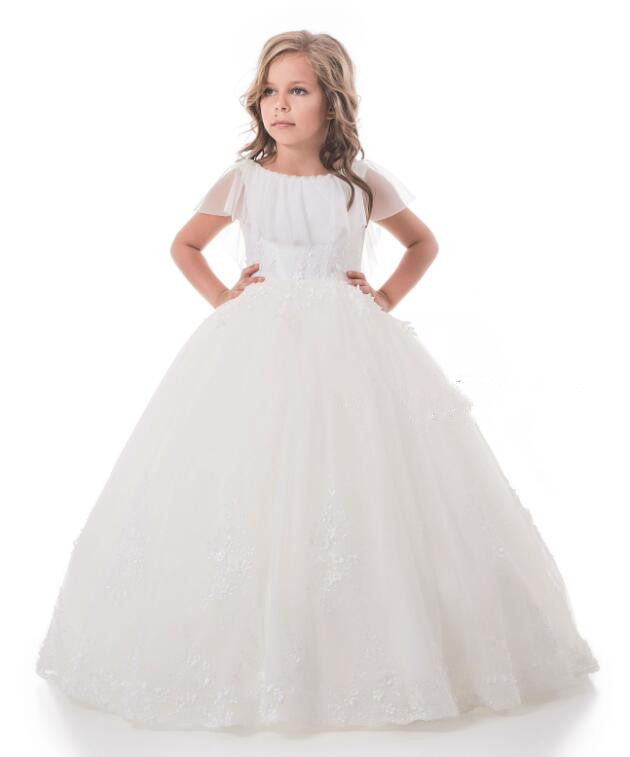 2018 High Quality Lace Pearls Flower Girl Dress for Wedding Girls Communion Gown White Ivory CUSTOM MADE Any Size white lace off shoulder flower girl dress for wedding half sleeves custom made any size