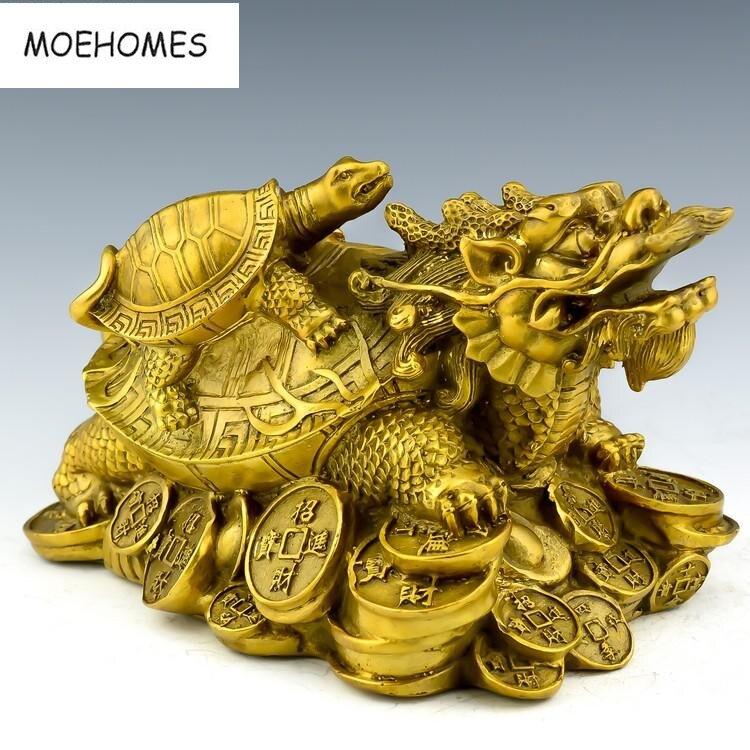MOEHOMES chinois FengShui Bronze longévité Dragon tortue Statue vintage décor à la maison en métal artisanat