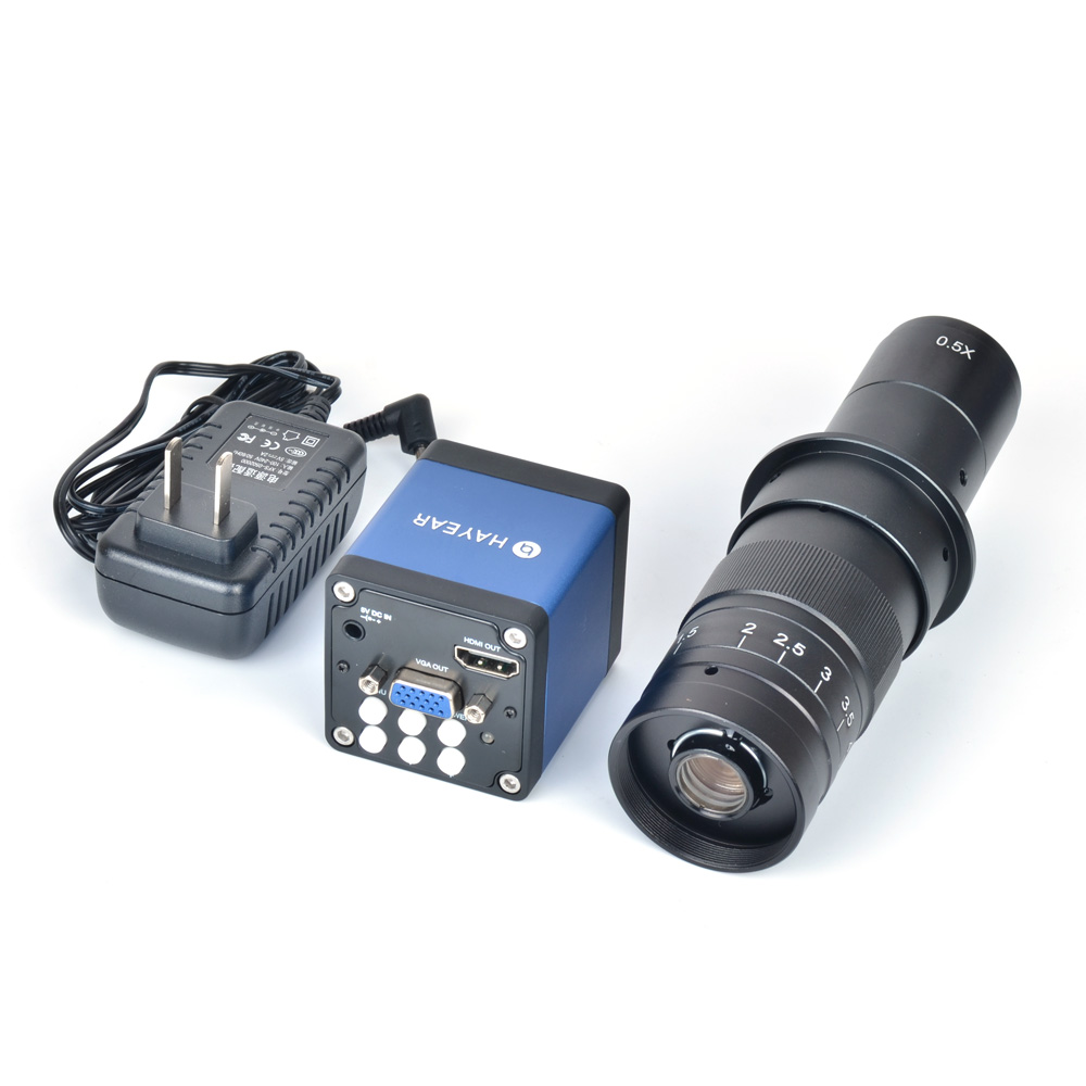 1080P 2.0MP 1/2.5 CMOS Industry Microscope Camera HDMI VGA Outputs + 180X Zoom C-MOUNT Lens PCB Lab
