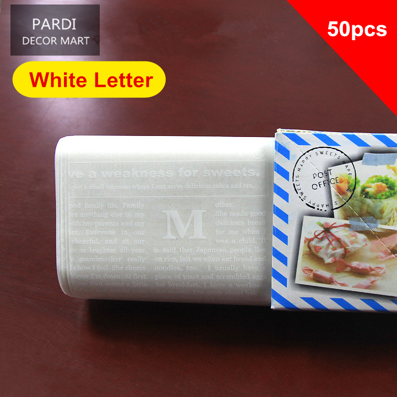 Colorful packing double coated wax Oilpaper for cake desserts wax paper silicon paper 50pcs/box/white letter