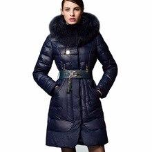 2017 зимняя куртка для женщин; Большие размеры роскошный мех енота с капюшоном Пуховики на гусином пуху женские зимнее пуховое пальто Длинная Верхняя одежда, парки 029
