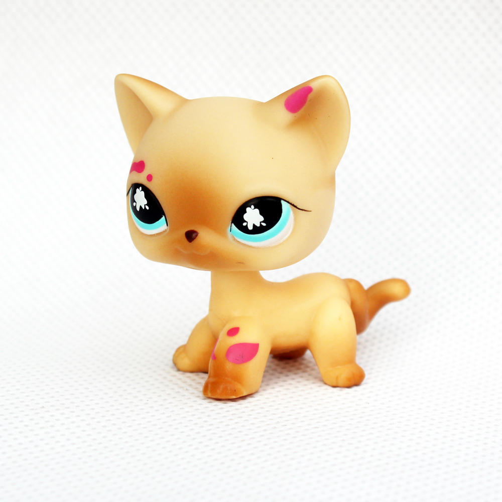 ON SALE Rare animal pet shop toys standing original short hair cat #816 old real yellow kitty for kids collection image
