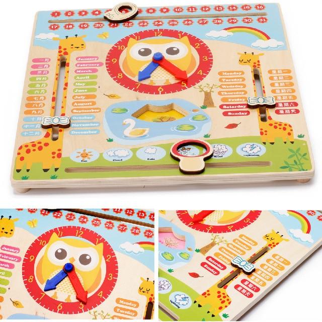 Деревянные Игрушки Из Мультфильма Календарь Игрушка Для Улучшения ребенка Когнитивные Хороший Подарок Для Детей, Чтобы Понять время