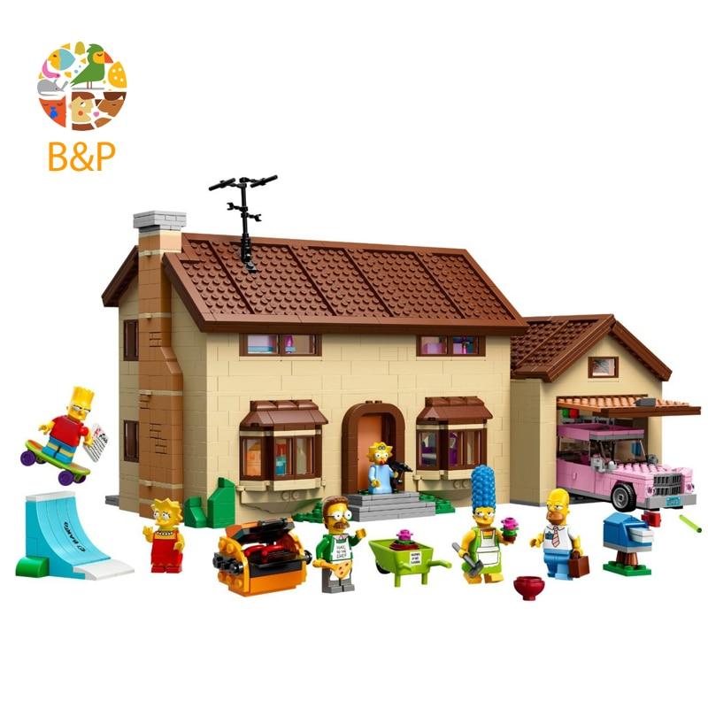 lepin Legoing 71006 2575Pcs Movies Series The Simpson's family Kwik-E-Mar Building Block Bricks Toys for Children Gift 16005 lepin 16005 16004 2575pcs movie series simpsons house kwik e mar setl building blocks bricks educational toys for children 71006