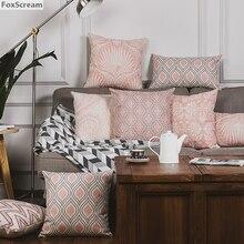 Vintage cojines decorativos funda de almohada Rosa gris geométrico cojines fundas para decoración del hogar Lino funda de almohada para sofá