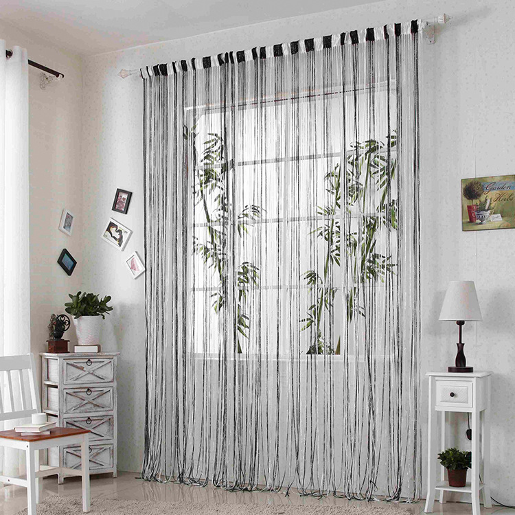 Top Grade Hot Sale 3m By 3m Silver S Design Beige Grey Coffee White  Colorful Door Window Screening Rod Pocket String Curtain