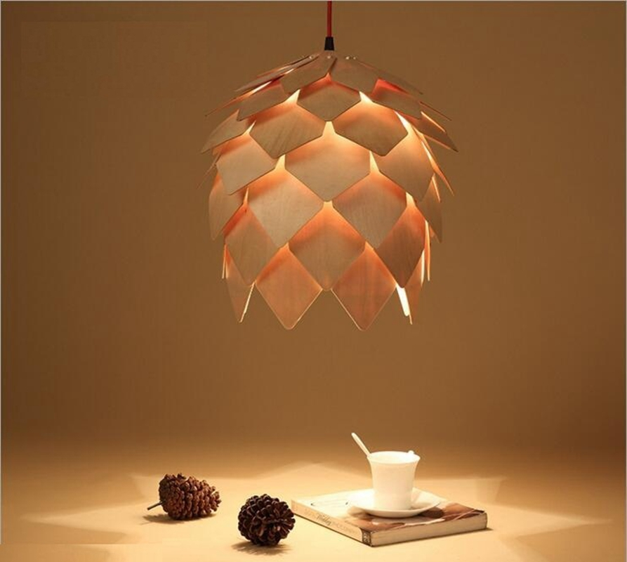 Modern Pendant Lights Lamp, Dinning Room Restaurant Modern Lighting, Pinecone Lamp Wood Lustres british snooker billiard lamp senior clubs casino card room lamp cradle pendant lights wwy 0431