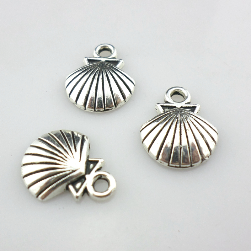 48pcs Tibetan Silver Shell/Conch Charms Craft Pendants 12x14mm Jewelry Findings