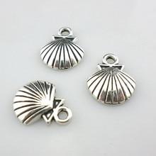 48 pces tibetano concha de prata/concha encantos artesanato pingentes 12x14mm joias descobertas
