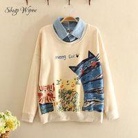 Mori Girl Sweatshirt 2016 Autumn New Women Preppy Style Cute Cartoon Printing Casual Sweatshirt Lapel Long