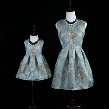 New Family Matching Dress Retrostyle Royal Princess Dress For Mum and Daughter Girls Ball Gown For Birthday Party Performance