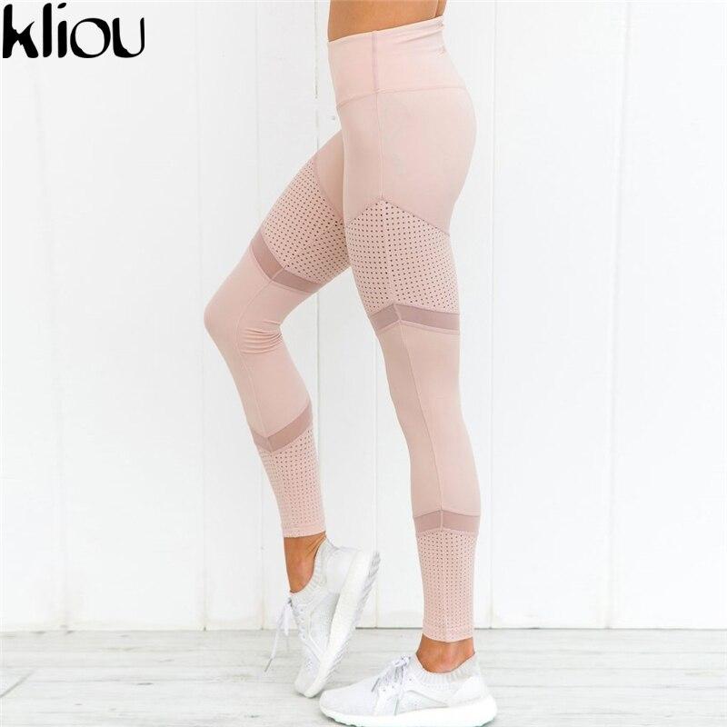 Kliou 2017 Nuova Maglia Del Modello di Stampa Leggings Leggings di fitness Per Le Donne Sportive Allenamento Leggins Pantaloni Elastici Sottili Pantaloni ROSA
