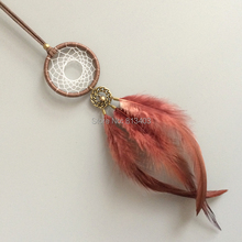 Jingle bells feather dream catcher car home hanging small catchers with brown free shipping