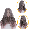 60cm High Quality Natural Looking Long Wavy Wigs For Women Heat Resistant Synthetic U Part Grey Pink Ombre Wig With Rose Net