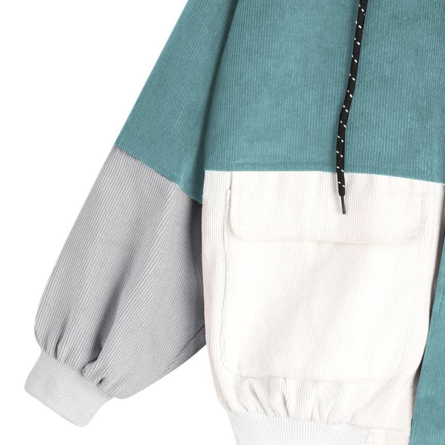 Bella Philosophy color block Long Sleeve Corduroy Women jacket Patchwork Autumn Jacket  jeans jacket women plus size women coat 5