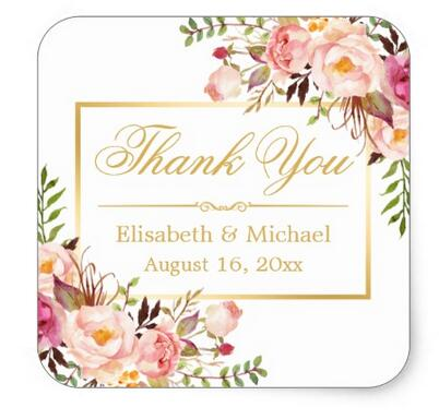 1.5inch Elegant Chic Floral Gold Frame Thank You Square Sticker