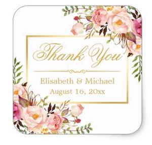 Image 1 - 1.5inch 우아한 세련된 꽃 골드 프레임 감사합니다 스퀘어 스티커
