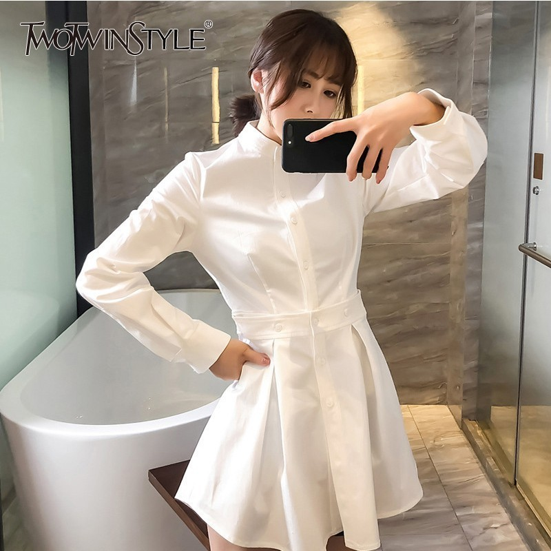 TWOTWINSTYLE Autumn Ruffles Dresses For Women Stand Collar Long Sleeve High Waist White Mini Dress Female