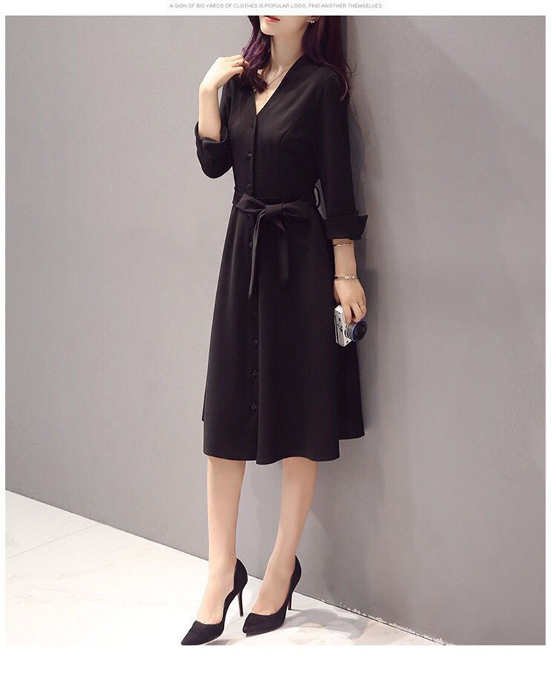 New Women Autumn Spring Dress Casual Turn down Collar Button Shrink Waist Pockets Dresses Office Fashion
