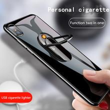 Kreatywna zapalniczka na usb może zrobić uchwyt na telefon lżejsze wielofunkcyjne akcesoria do papierosów tanie tanio Metal Lustro B650468 china black Usb lighter Multi-function mobile phone holder