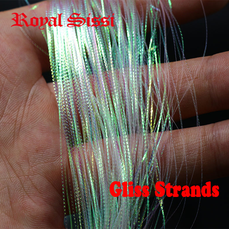 4packs/set corrugated flash strands Gliss' N Glow flash iridescent flashbou synthetic fly tying materials simulates fish scales