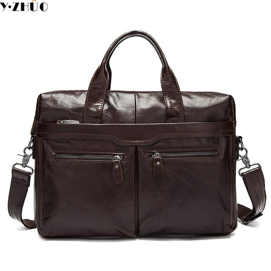Y ZHUO Genuine Leather genuine leather laptop bag Handbags Cowhide Men Crossbody Bag Men's Travel brown leather briefcase genuine leather