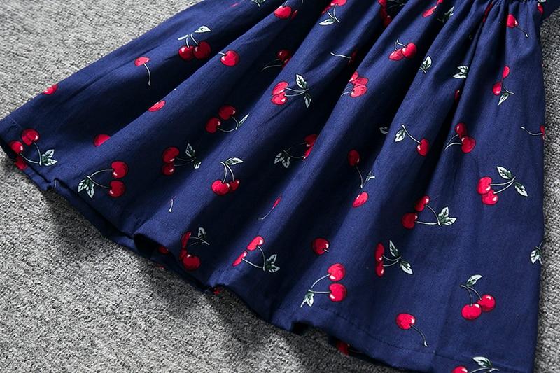 Детская красная вишня Цветочный принт Повседневное 2018 летнее платье маленькой принцессы для девочек на день рождения Одежда Сарафан спинк...