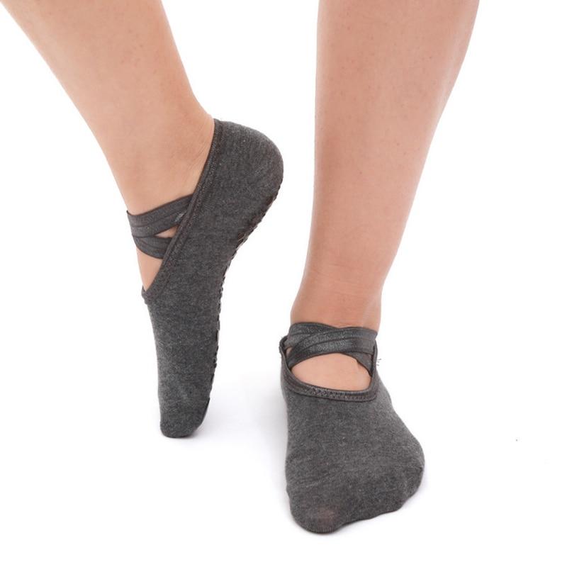 Women Cross Bandage Yoga Socks Pilates Ballet Dance Anti Slip Socks Gym Fitness Sport Cotton Socks Comfortable Non Slip Silicone in Yoga Socks from Sports Entertainment