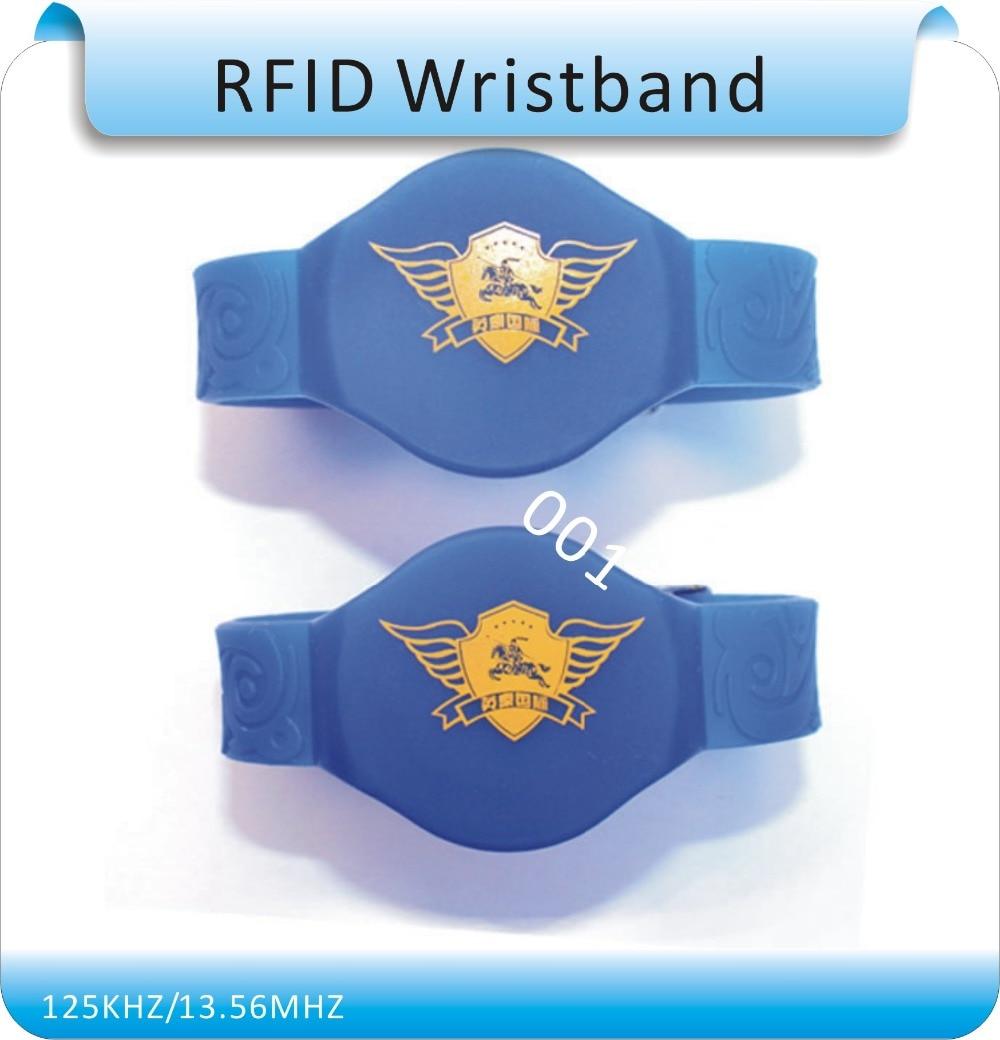 50pcs 5# IP68 waterproof silicone 125khz TK4100 rfid wristband/ RFID tags bracelet+1pcs 125KHZ RFID reader