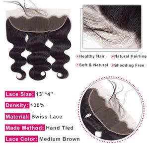 Image 4 - ブリンブリンヘア実体波 13 × 4 レースフロント人間の髪留め無料一部ブラジルのremy毛スイスレース自然な色