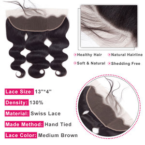 Image 4 - Bling Hair Body Wave 13x4 Lace Frontal Human Hair Closure with Baby Hair Free Part Brazilian Remy Hair Swiss Lace Natural Color