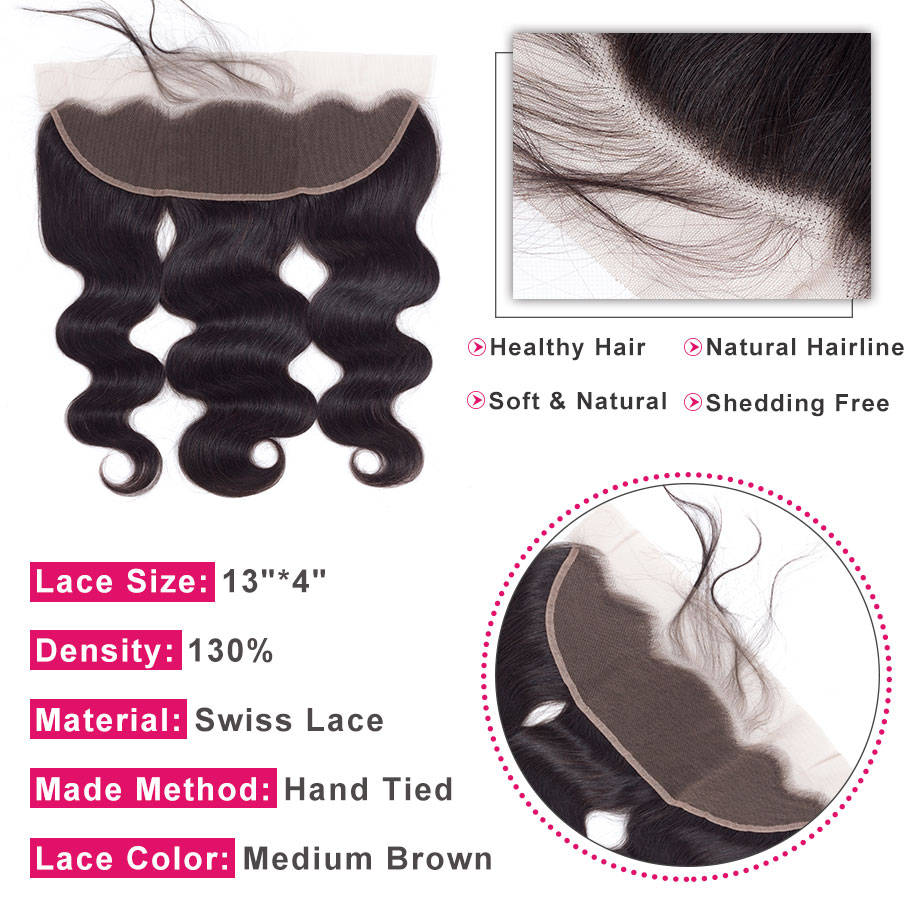Image 2 - Bling Hair Body Wave Lace Frontal Human Hair Closure with Baby Hair 13*4 Middle/Free/Three Part Brazilian Remy Hair Nature Color-in Closures from Hair Extensions & Wigs