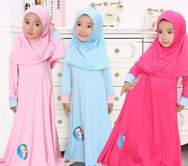 Muslim Girls dress islamic Long dress + Hijab dresses Children clothes kids  long 2 piece Sets headdress