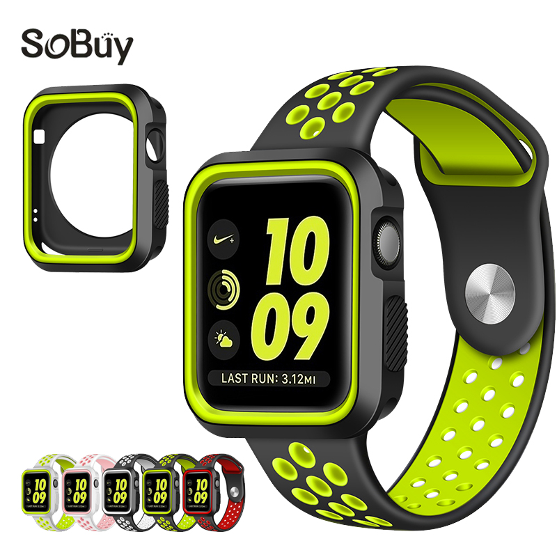 So buy protective case 38mm wristband Silicon Sport Band for Apple Watch iwatch Series 3/2/1 S shell 42mm rubber wrist Bracelet so buy for apple watch sport 1 2 3 series 38mm band 42mm silicone wrist strap stainless steel adapter for iwatch rubber bracelet