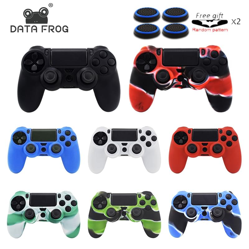Soft Silicone Rubber Case Cover For Dualshock 4 PS4 DS4 PlayStation 4 Pro Slim Controller Skin + 4 Thumb Stick Grips Caps