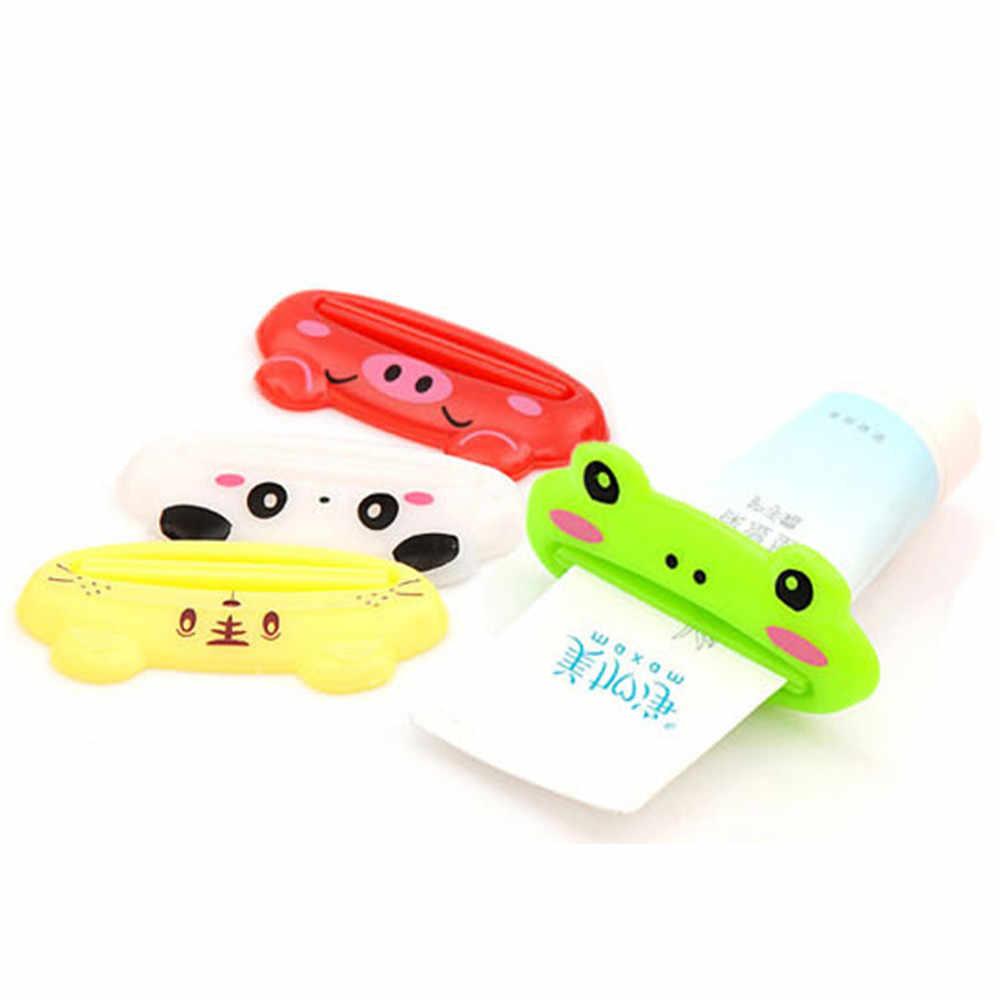 4 สีห้องน้ำหลอดผู้ถือ Rolling Squeezer ยาสีฟัน Easy การออกแบบการ์ตูนที่มีสีสัน