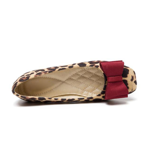 Image 3 - BEYARNELadies Leopard Printed Flats Square Toe Driving Shoes Grey Red Soft Slip ons For Pregnancy Women Breathable Plus SizeE709