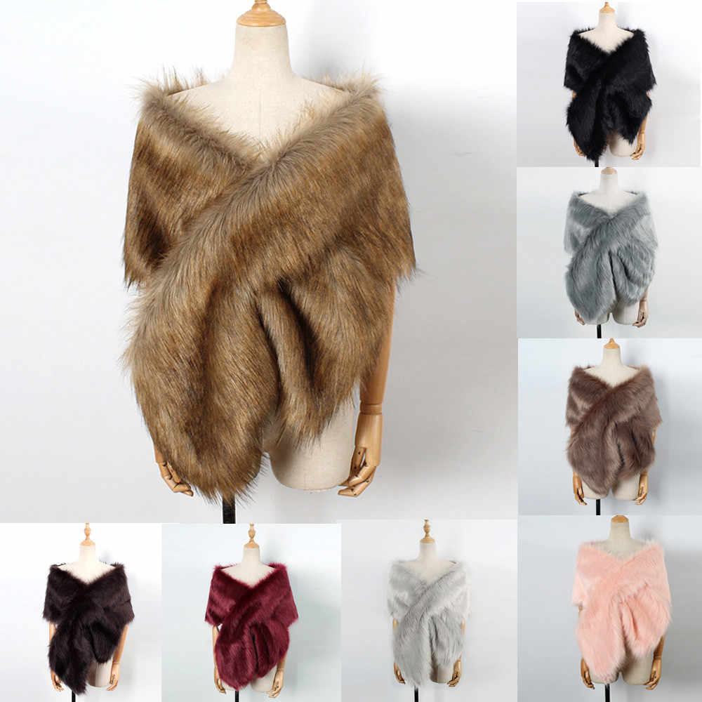 Women Faux Fox Fur Long Shawl Stole Wrap Shrug Scarf Bridal lady Wedding Casual Autumn Winter attractive winter estola de pele