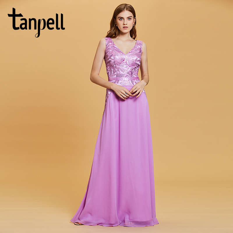 Tanpell beaded sequins evening dress purple v neck lace sleeveless floor length a line gown women