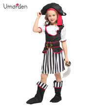 Umorden New Arrival Halloween Costumes for Girls Black White Elegant Pirate Costume Suit Party Carnival Dress Girl Kids